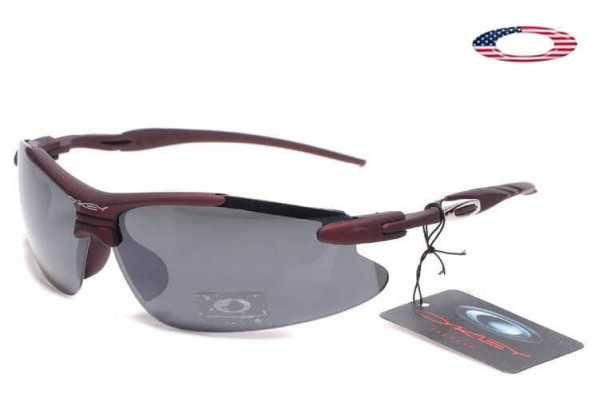 c6edaeaf72f Fake Oakley Semi Rimless Sport Sunglasses Dark Red   Gray Sale Online